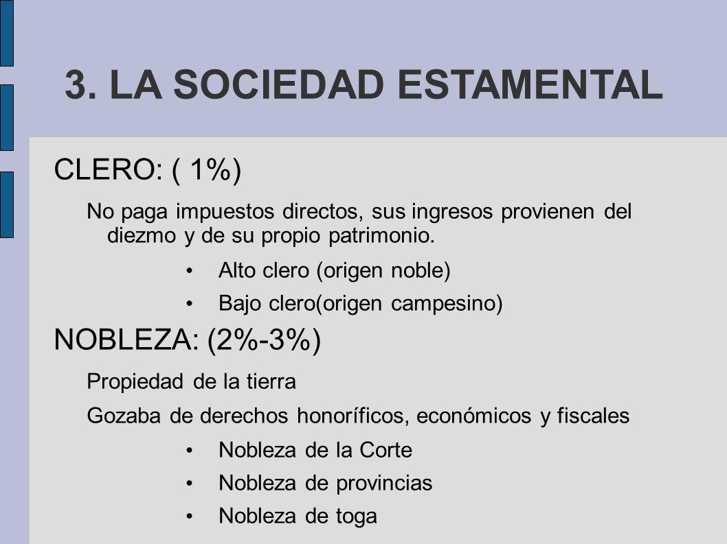 3. LA SOCIEDAD ESTAMENTAL CLERO: ( 1%) No paga impuestos directos, sus ingresos provienen del diezmo y de su propio patrimonio. Alto clero (origen nob