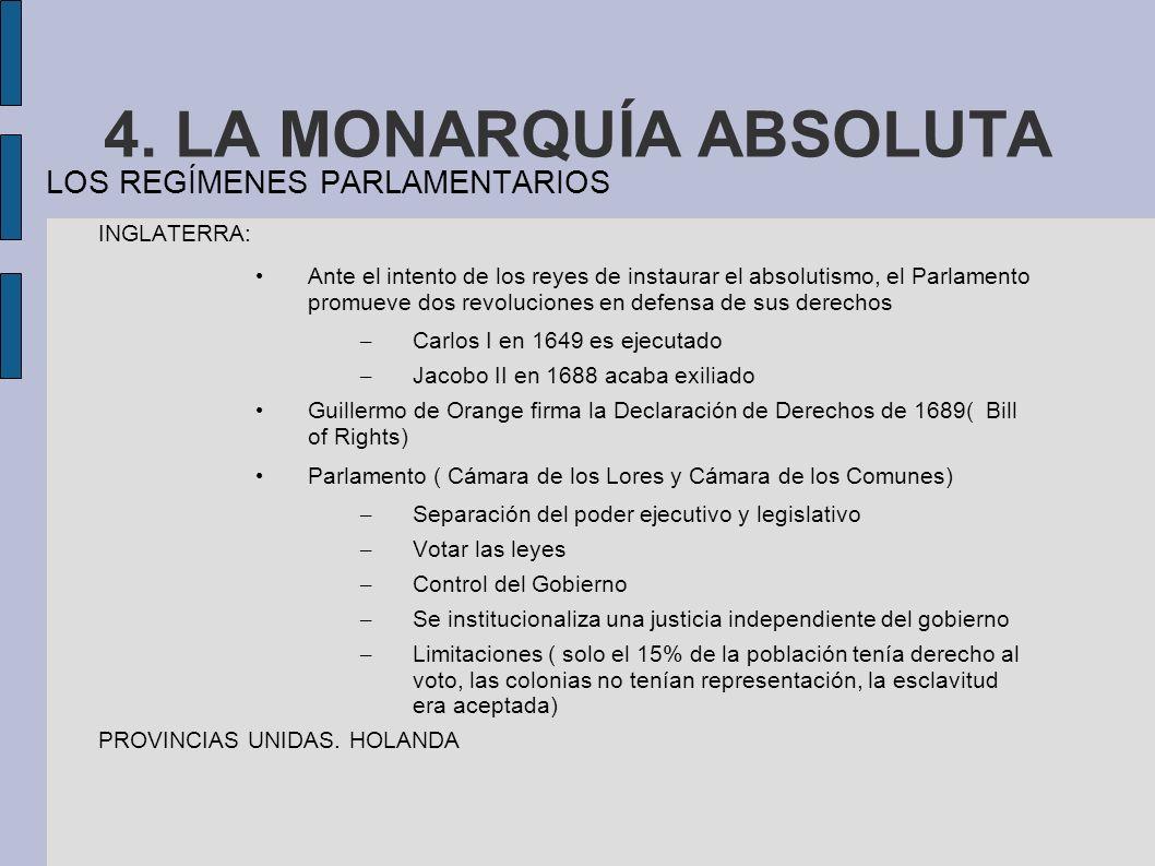 4. LA MONARQUÍA ABSOLUTA LOS REGÍMENES PARLAMENTARIOS INGLATERRA: Ante el intento de los reyes de instaurar el absolutismo, el Parlamento promueve dos
