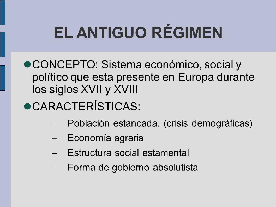 EL ANTIGUO RÉGIMEN CONCEPTO: Sistema económico, social y político que esta presente en Europa durante los siglos XVII y XVIII CARACTERÍSTICAS: Población estancada.