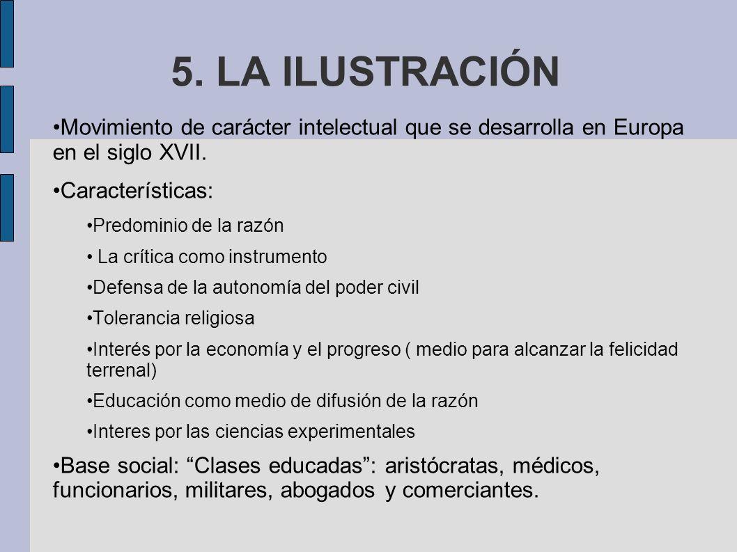 5.LA ILUSTRACIÓN Movimiento de carácter intelectual que se desarrolla en Europa en el siglo XVII.