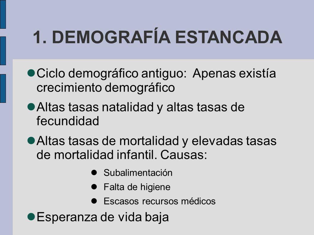 1. DEMOGRAFÍA ESTANCADA Ciclo demográfico antiguo: Apenas existía crecimiento demográfico Altas tasas natalidad y altas tasas de fecundidad Altas tasa