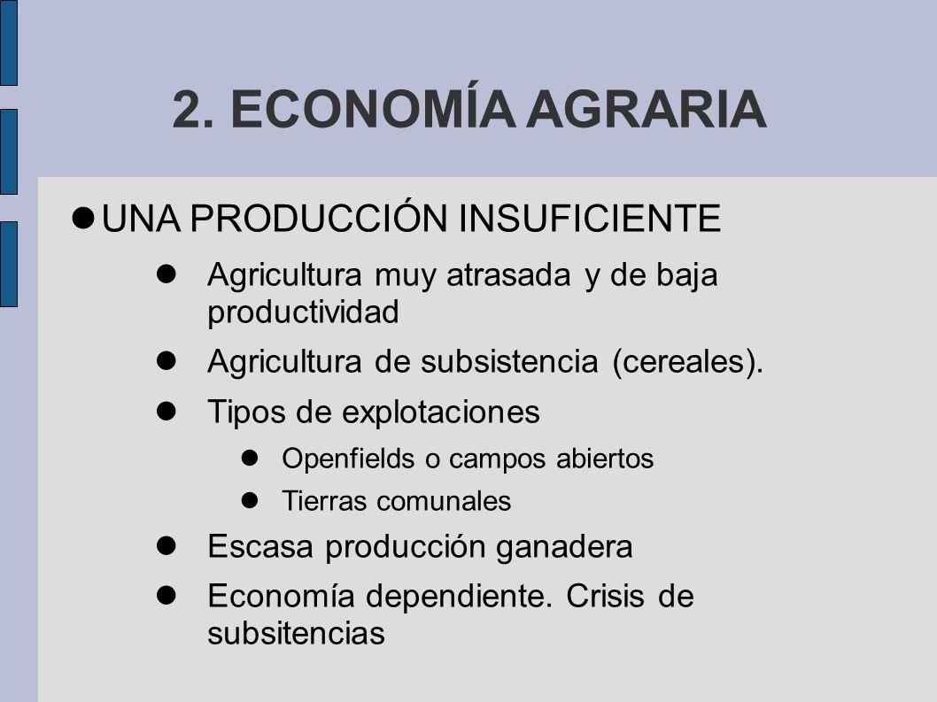 2. ECONOMÍA AGRARIA UNA PRODUCCIÓN INSUFICIENTE Agricultura muy atrasada y de baja productividad Agricultura de subsistencia (cereales). Tipos de expl