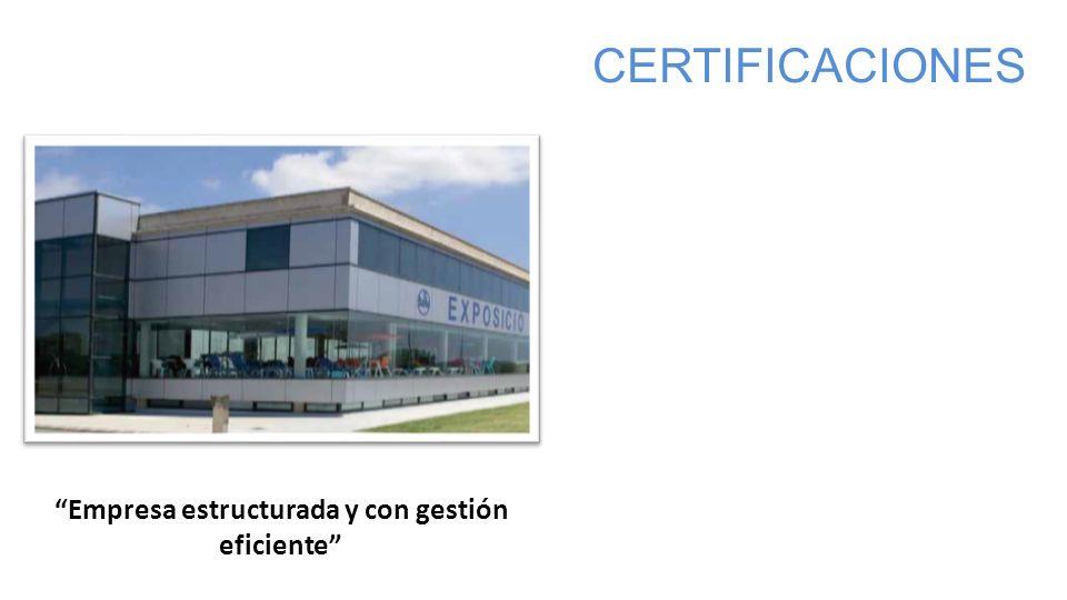 Empresa estructurada y con gestión eficiente CERTIFICACIONES