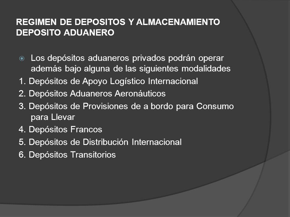 REGIMEN DE DEPOSITOS Y ALMACENAMIENTO DEPOSITO ADUANERO Los depósitos aduaneros privados podrán operar además bajo alguna de las siguientes modalidades 1.