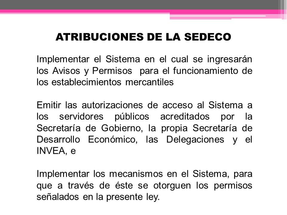 ATRIBUCIONES DE LA SEDECO Implementar el Sistema en el cual se ingresarán los Avisos y Permisos para el funcionamiento de los establecimientos mercant