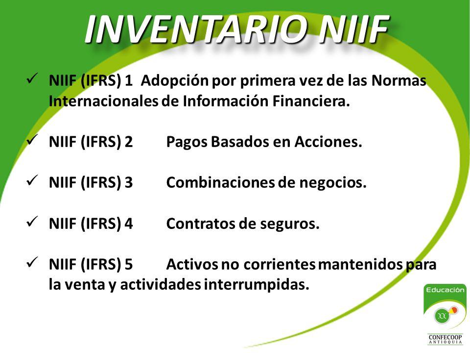 INVENTARIO NIIF NIIF (IFRS) 1 Adopción por primera vez de las Normas Internacionales de Información Financiera.