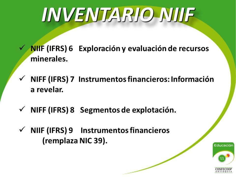 INVENTARIO NIIF NIIF (IFRS) 6 Exploración y evaluación de recursos minerales.