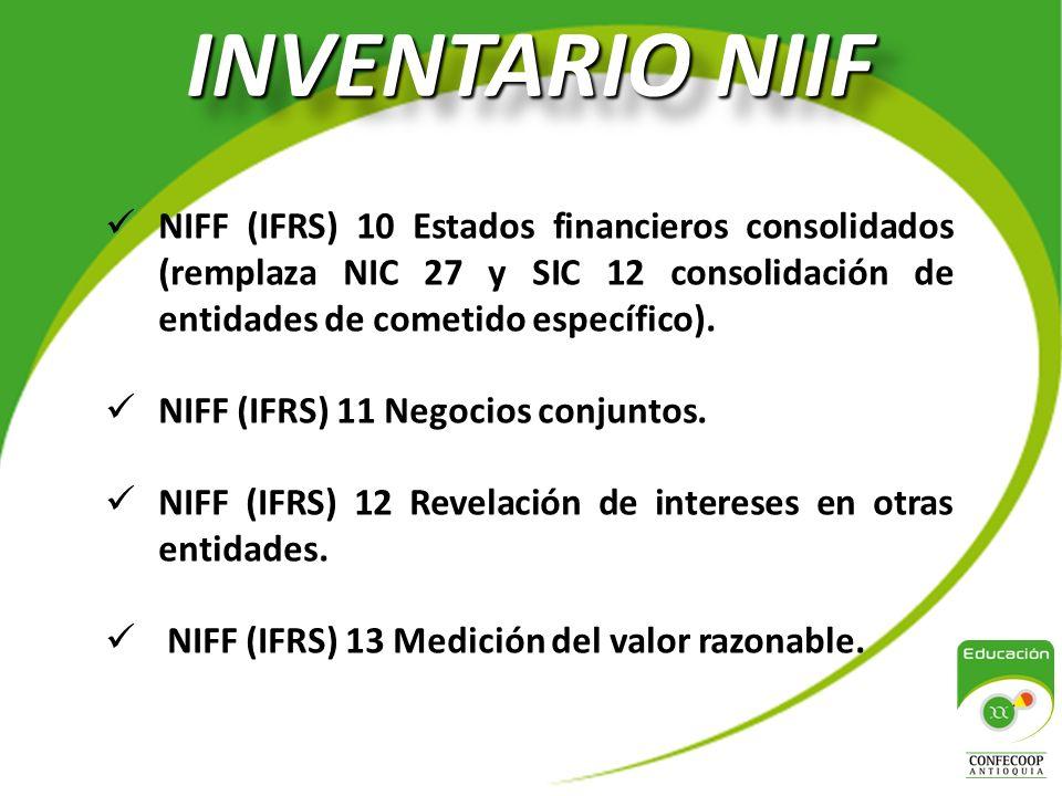 INVENTARIO NIIF NIFF (IFRS) 10 Estados financieros consolidados (remplaza NIC 27 y SIC 12 consolidación de entidades de cometido específico).