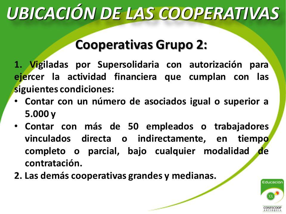 UBICACIÓN DE LAS COOPERATIVAS Cooperativas Grupo 2: 1.