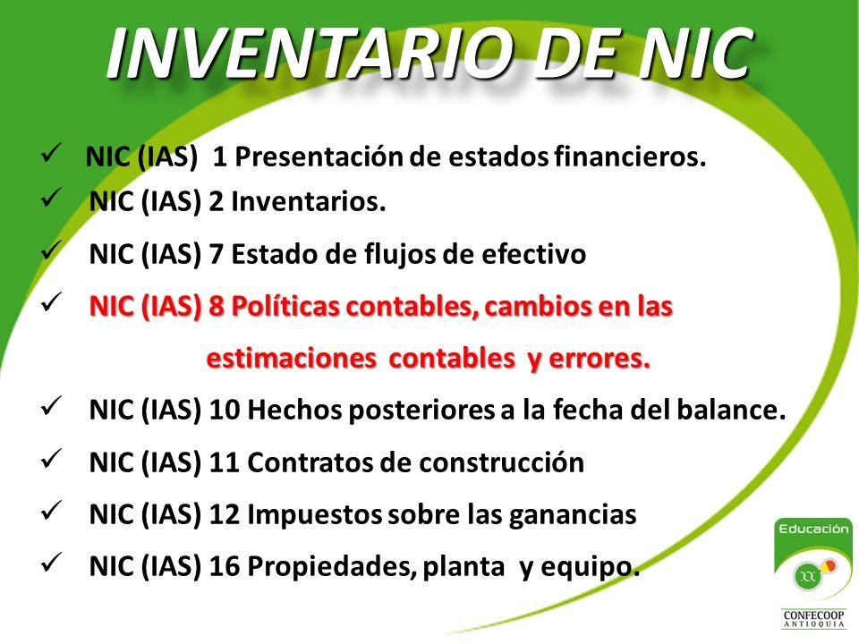 INVENTARIO DE NIC NIC (IAS) 1 Presentación de estados financieros.