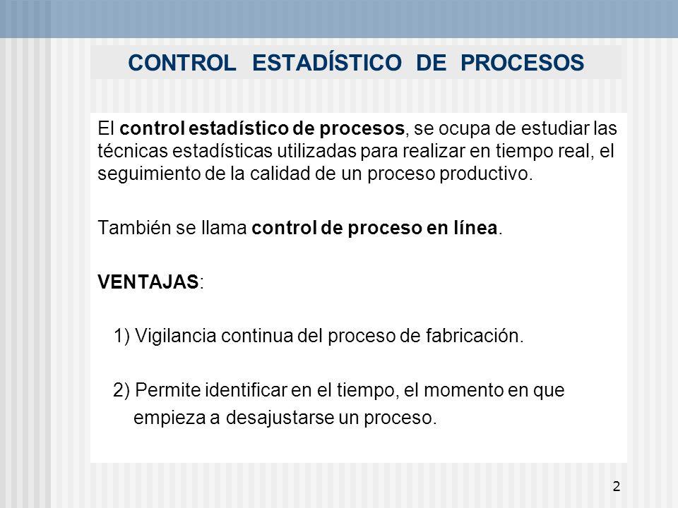 2 CONTROL ESTADÍSTICO DE PROCESOS El control estadístico de procesos, se ocupa de estudiar las técnicas estadísticas utilizadas para realizar en tiemp