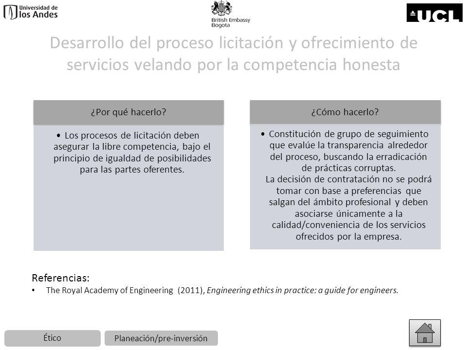 Desarrollo del proceso licitación y ofrecimiento de servicios velando por la competencia honesta ¿Por qué hacerlo? Los procesos de licitación deben as