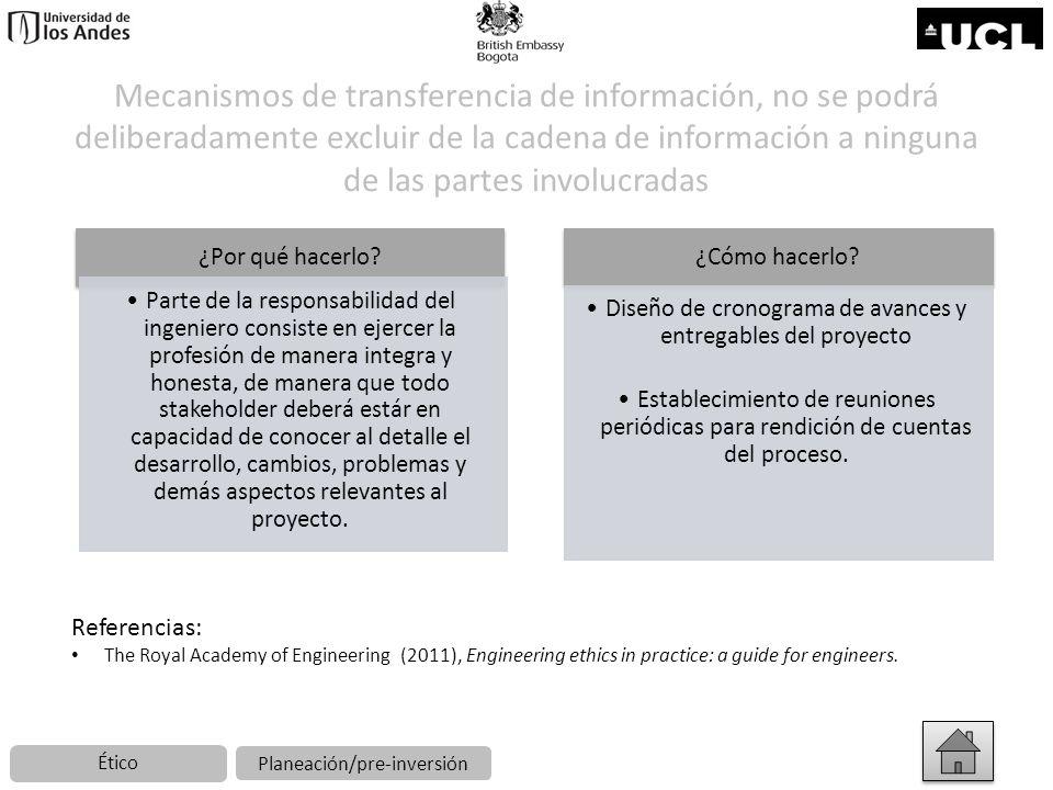 Mecanismos de transferencia de información, no se podrá deliberadamente excluir de la cadena de información a ninguna de las partes involucradas ¿Por