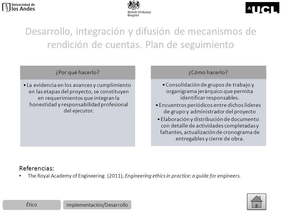Desarrollo, integración y difusión de mecanismos de rendición de cuentas. Plan de seguimiento ¿Por qué hacerlo? La evidencia en los avances y cumplimi