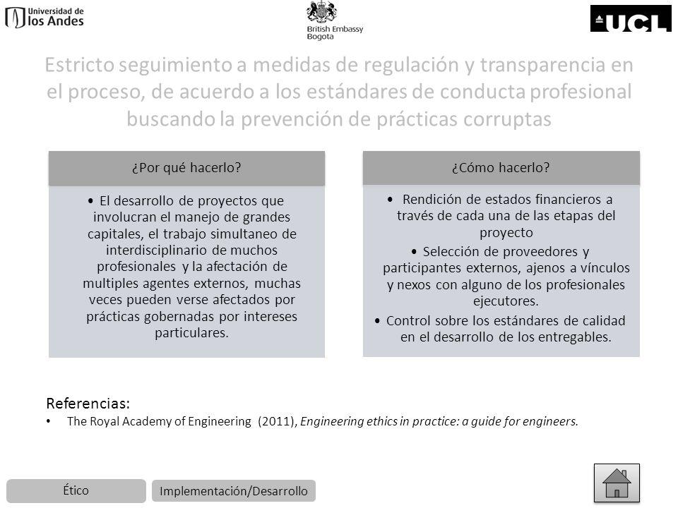 Estricto seguimiento a medidas de regulación y transparencia en el proceso, de acuerdo a los estándares de conducta profesional buscando la prevención