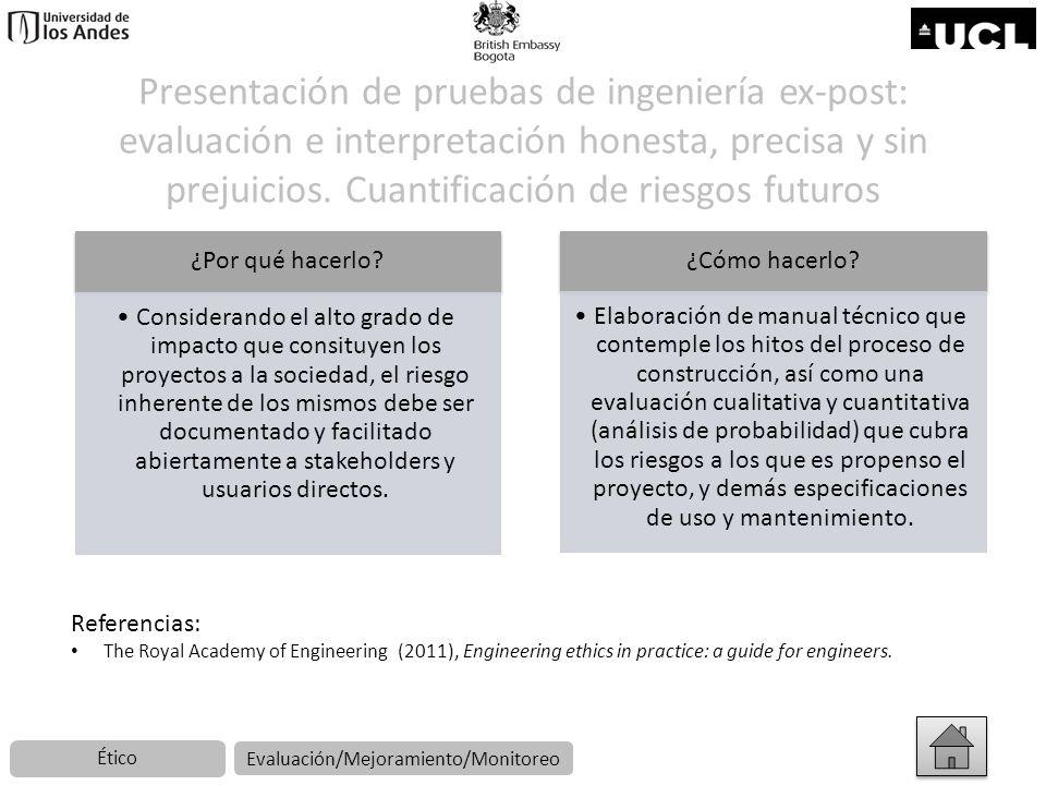 Presentación de pruebas de ingeniería ex-post: evaluación e interpretación honesta, precisa y sin prejuicios. Cuantificación de riesgos futuros ¿Por q