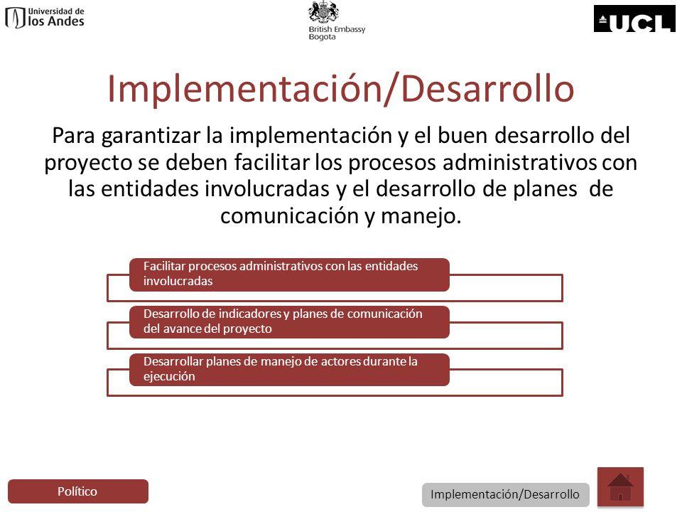 Implementación/Desarrollo Para garantizar la implementación y el buen desarrollo del proyecto se deben facilitar los procesos administrativos con las