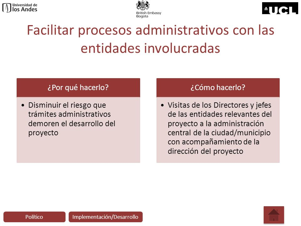 Facilitar procesos administrativos con las entidades involucradas ¿Por qué hacerlo? Disminuir el riesgo que trámites administrativos demoren el desarr