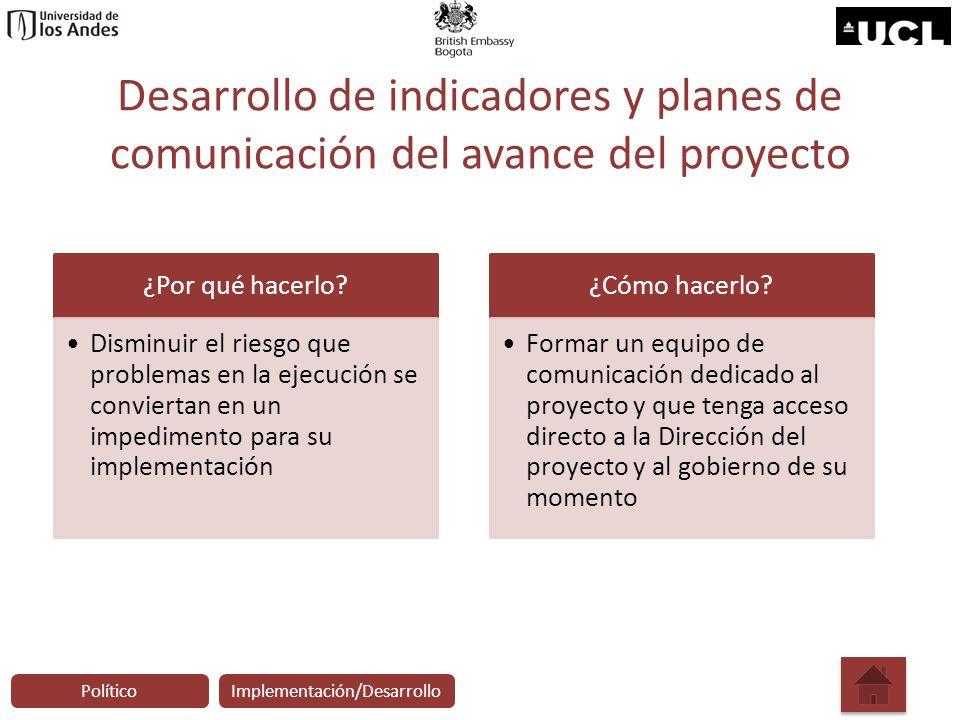 Desarrollo de indicadores y planes de comunicación del avance del proyecto ¿Por qué hacerlo? Disminuir el riesgo que problemas en la ejecución se conv
