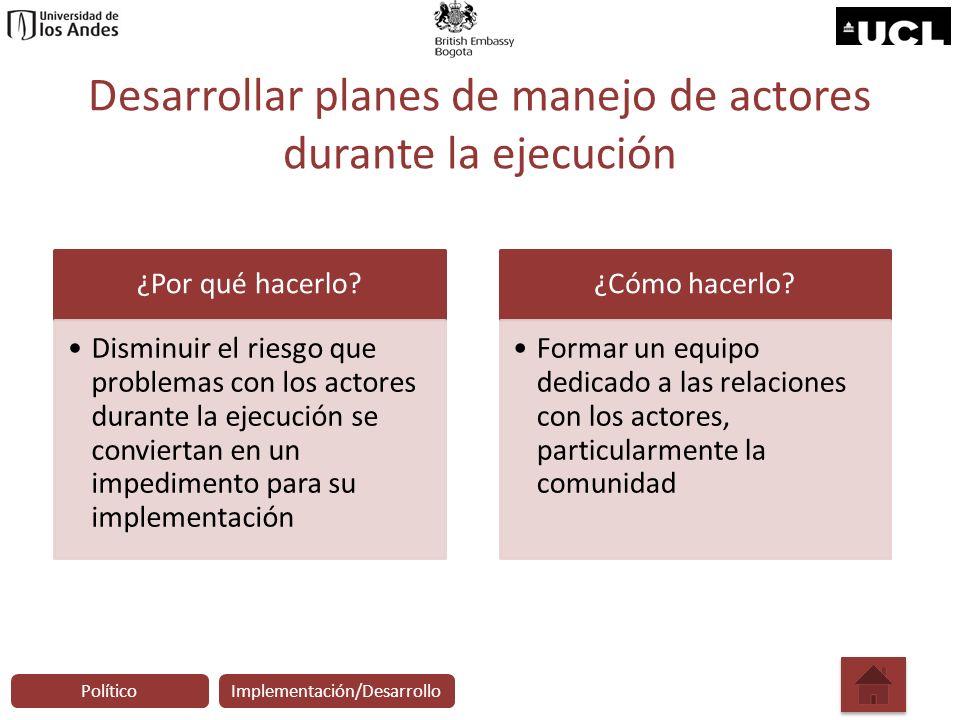 Desarrollar planes de manejo de actores durante la ejecución ¿Por qué hacerlo? Disminuir el riesgo que problemas con los actores durante la ejecución