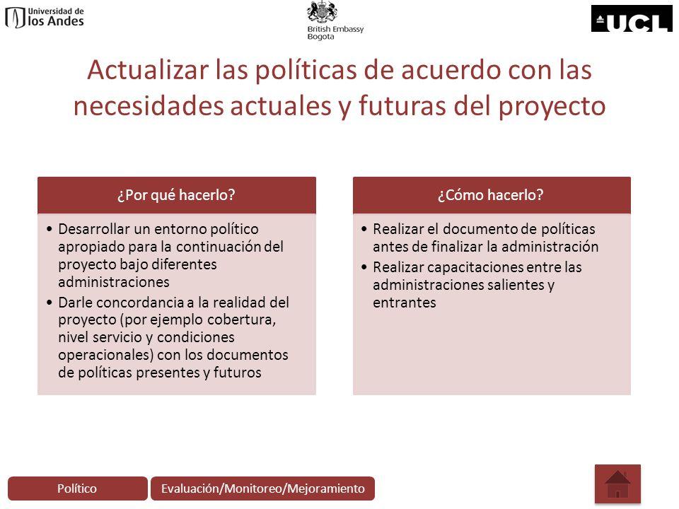 Actualizar las políticas de acuerdo con las necesidades actuales y futuras del proyecto ¿Por qué hacerlo? Desarrollar un entorno político apropiado pa