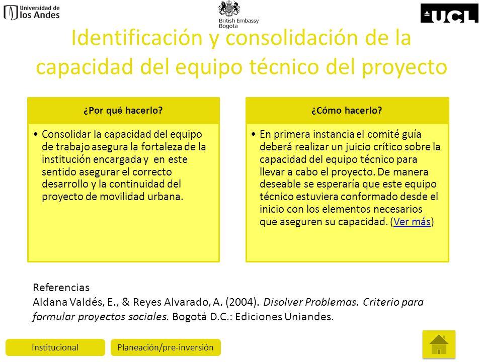 Identificación y consolidación de la capacidad del equipo técnico del proyecto ¿Por qué hacerlo? Consolidar la capacidad del equipo de trabajo asegura