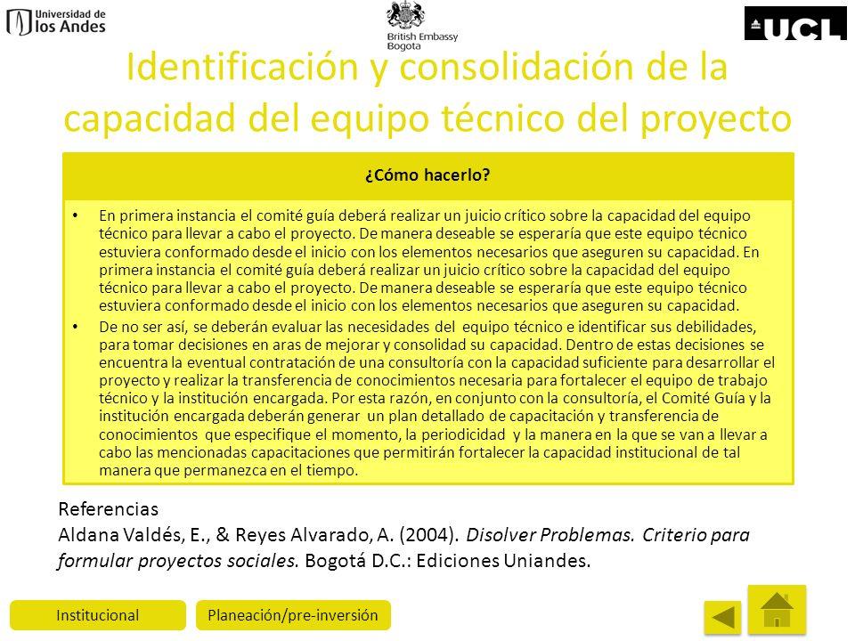 Identificación y consolidación de la capacidad del equipo técnico del proyecto ¿Cómo hacerlo? En primera instancia el comité guía deberá realizar un j
