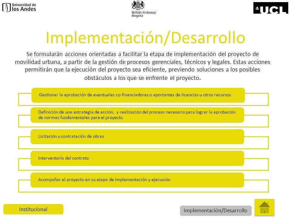 Implementación/Desarrollo Gestionar la aprobación de eventuales co-financiadores o aportantes de licencias u otros recursos Definición de una estrateg