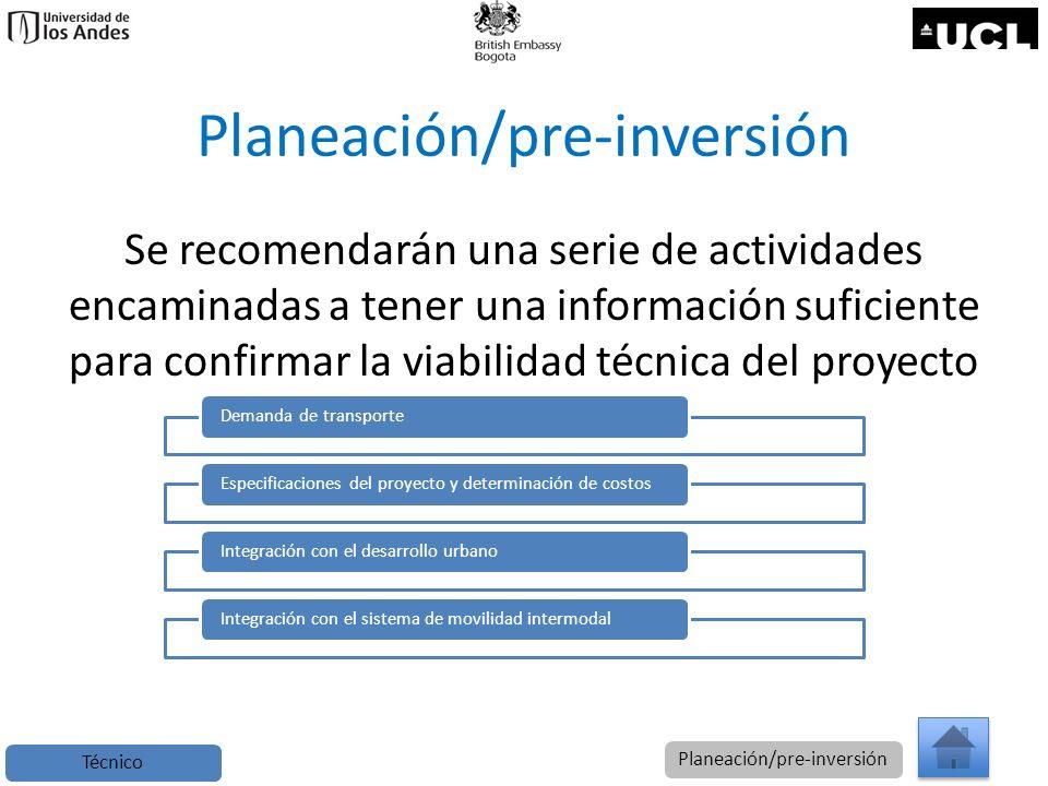Planeación/pre-inversión Se recomendarán una serie de actividades encaminadas a tener una información suficiente para confirmar la viabilidad técnica