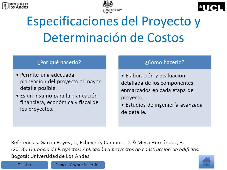 Especificaciones del Proyecto y Determinación de Costos ¿Por qué hacerlo? Permite una adecuada planeación del proyecto al mayor detalle posible. Es un