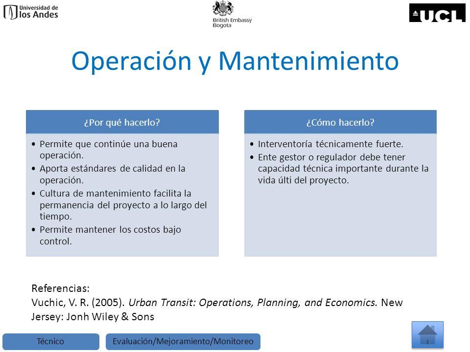 Operación y Mantenimiento ¿Por qué hacerlo? Permite que continúe una buena operación. Aporta estándares de calidad en la operación. Cultura de manteni
