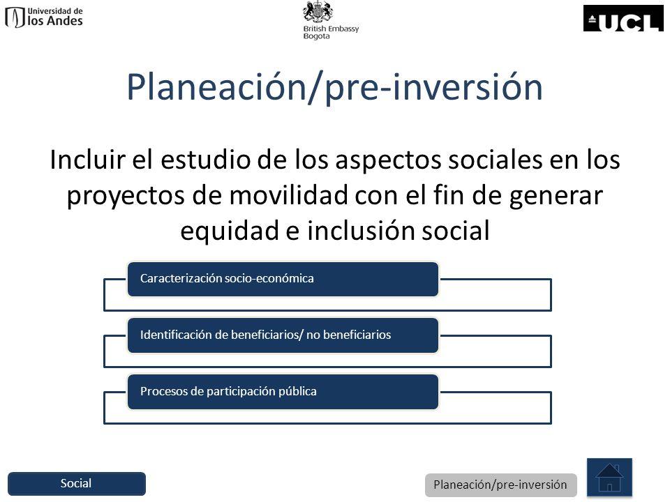Planeación/pre-inversión Incluir el estudio de los aspectos sociales en los proyectos de movilidad con el fin de generar equidad e inclusión social Ca