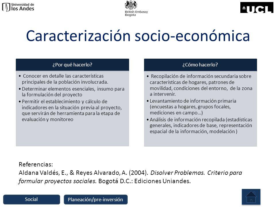 Caracterización socio-económica ¿Por qué hacerlo? Conocer en detalle las características principales de la población involucrada. Determinar elementos
