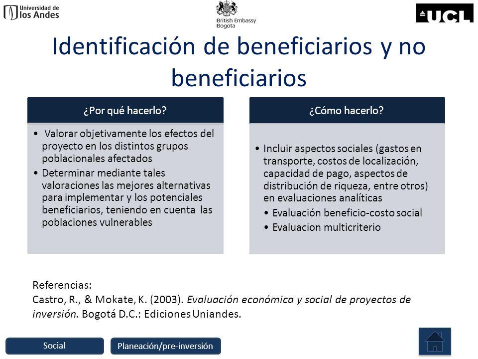 Identificación de beneficiarios y no beneficiarios ¿Por qué hacerlo? Valorar objetivamente los efectos del proyecto en los distintos grupos poblaciona