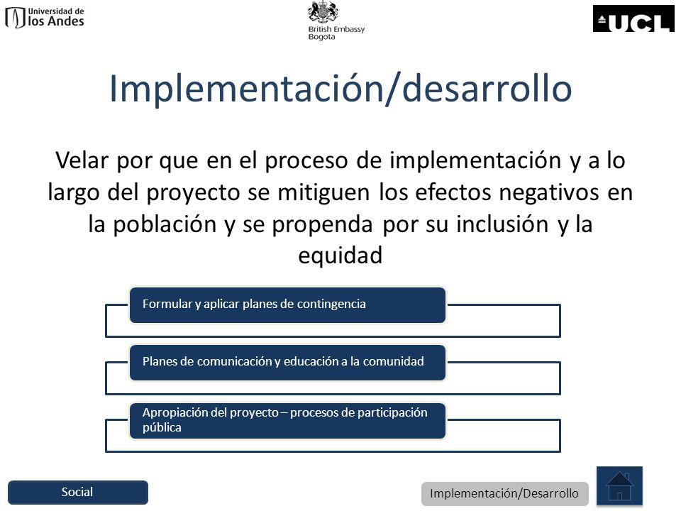 Implementación/desarrollo Velar por que en el proceso de implementación y a lo largo del proyecto se mitiguen los efectos negativos en la población y