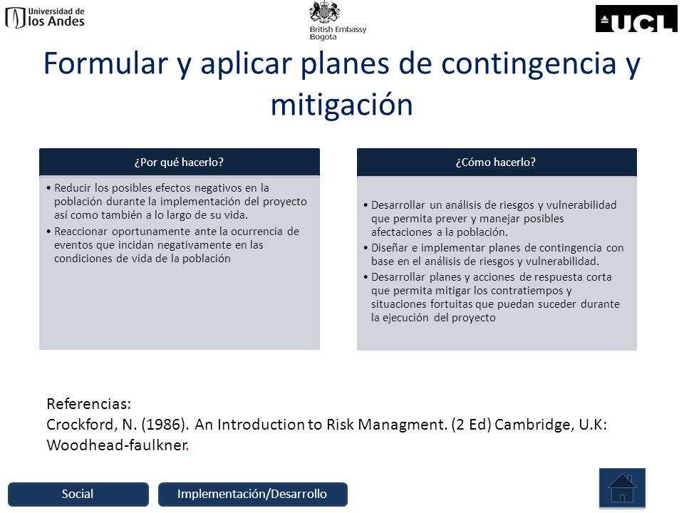 Formular y aplicar planes de contingencia y mitigación ¿Por qué hacerlo? Reducir los posibles efectos negativos en la población durante la implementac