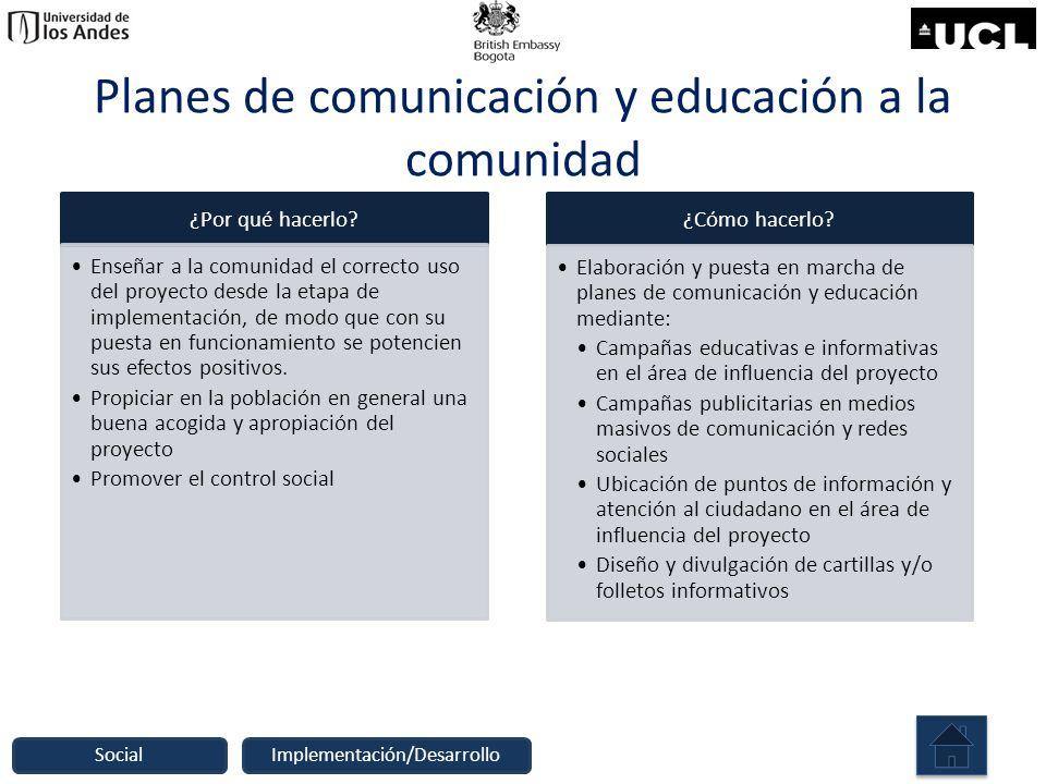 Planes de comunicación y educación a la comunidad ¿Por qué hacerlo? Enseñar a la comunidad el correcto uso del proyecto desde la etapa de implementaci