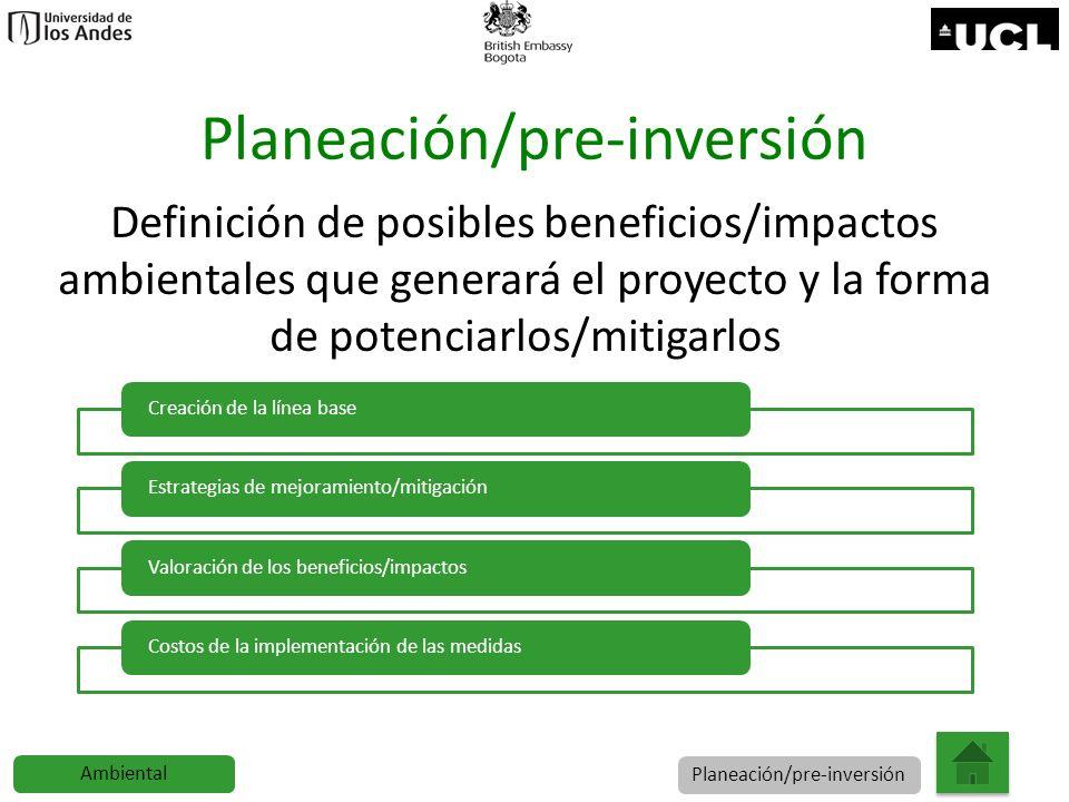 Planeación/pre-inversión Definición de posibles beneficios/impactos ambientales que generará el proyecto y la forma de potenciarlos/mitigarlos Creació