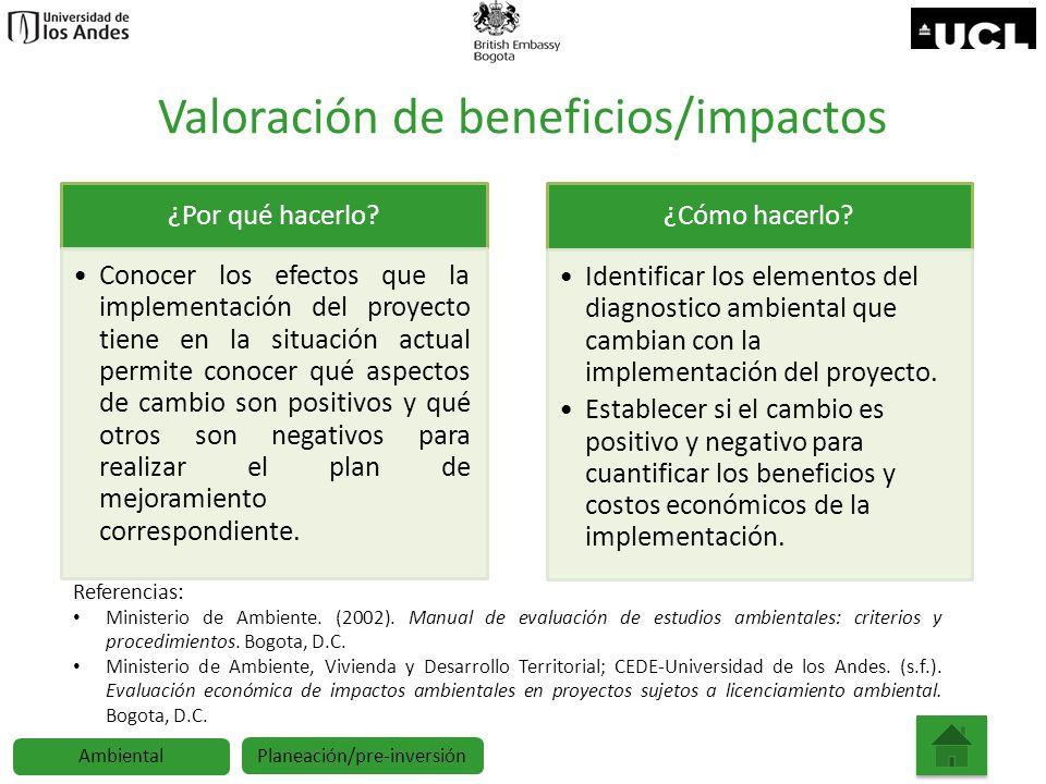 Valoración de beneficios/impactos ¿Por qué hacerlo? Conocer los efectos que la implementación del proyecto tiene en la situación actual permite conoce
