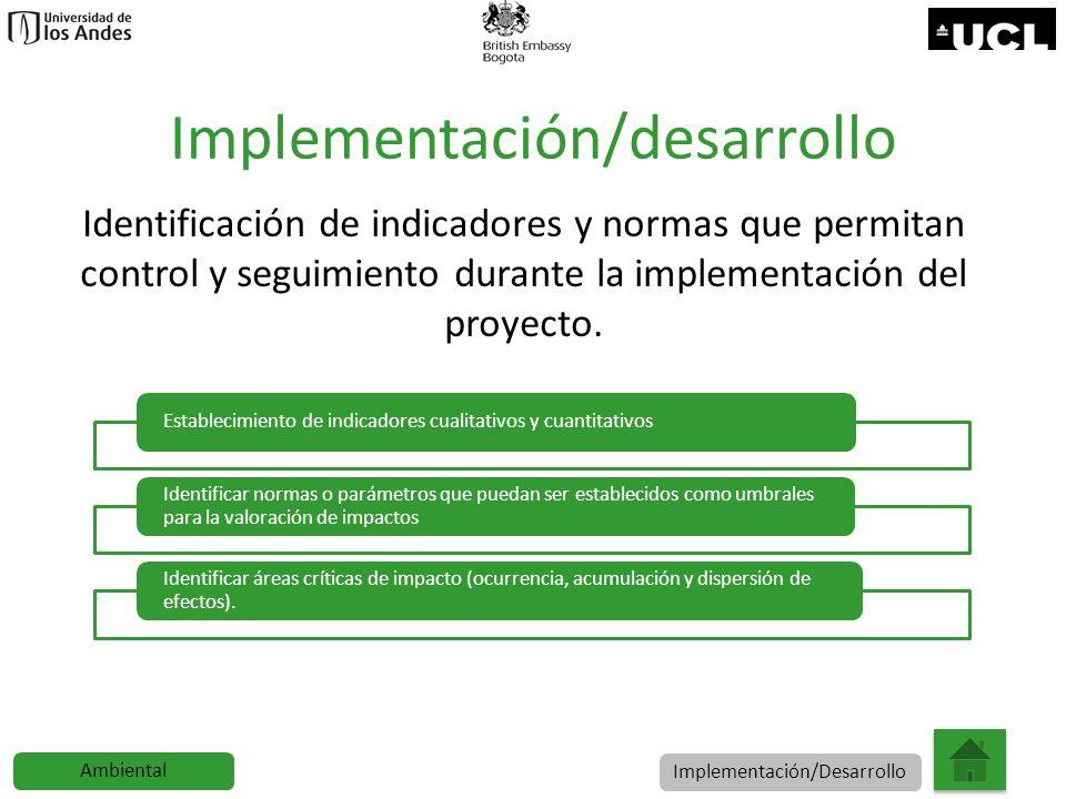 Implementación/desarrollo Identificación de indicadores y normas que permitan control y seguimiento durante la implementación del proyecto. Establecim