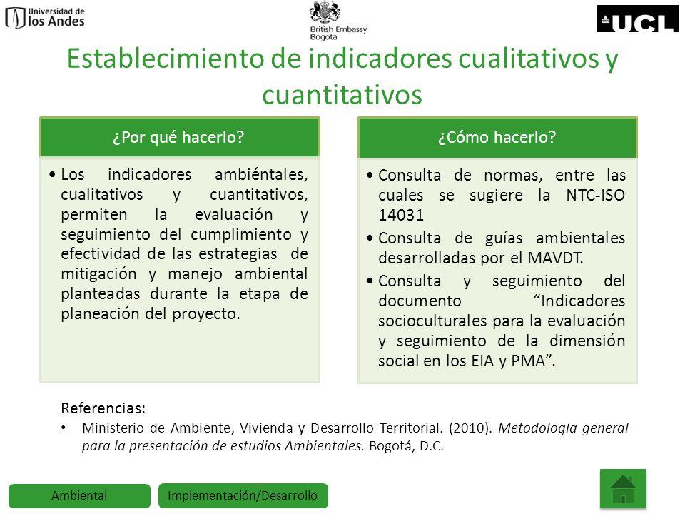 Establecimiento de indicadores cualitativos y cuantitativos ¿Por qué hacerlo? Los indicadores ambiéntales, cualitativos y cuantitativos, permiten la e