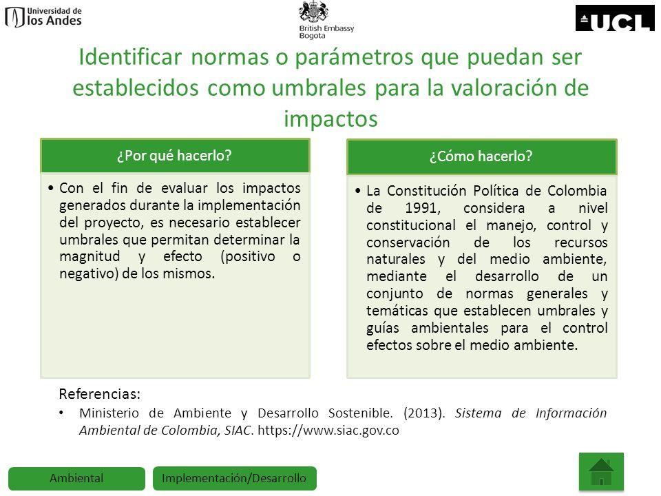 Identificar normas o parámetros que puedan ser establecidos como umbrales para la valoración de impactos ¿Por qué hacerlo? Con el fin de evaluar los i