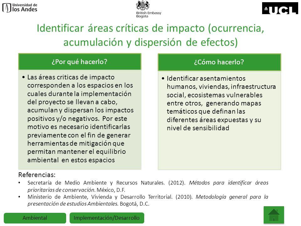 Identificar áreas críticas de impacto (ocurrencia, acumulación y dispersión de efectos) ¿Por qué hacerlo? Las áreas criticas de impacto corresponden a