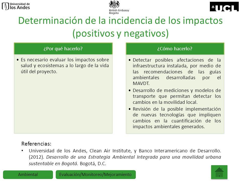 Determinación de la incidencia de los impactos (positivos y negativos) ¿Por qué hacerlo? Es necesario evaluar los impactos sobre salud y ecosistemas a