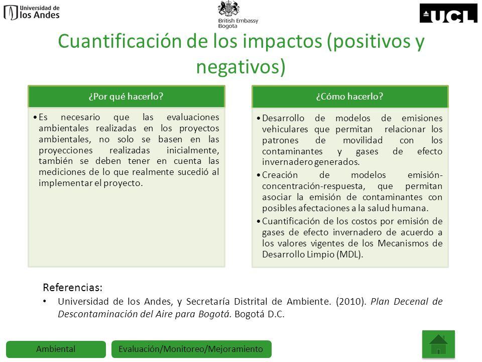 Cuantificación de los impactos (positivos y negativos) ¿Por qué hacerlo? Es necesario que las evaluaciones ambientales realizadas en los proyectos amb