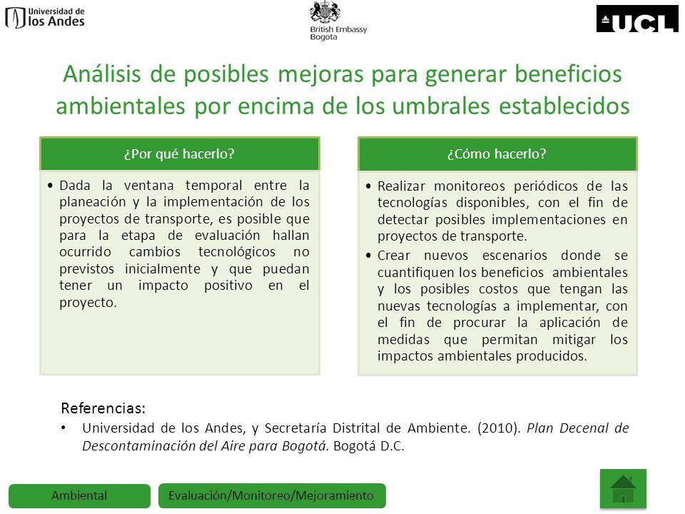 Análisis de posibles mejoras para generar beneficios ambientales por encima de los umbrales establecidos ¿Por qué hacerlo? Dada la ventana temporal en