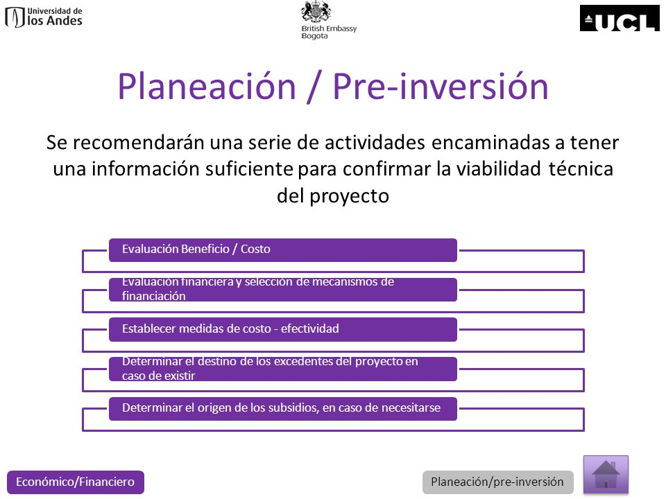 Planeación / Pre-inversión Se recomendarán una serie de actividades encaminadas a tener una información suficiente para confirmar la viabilidad técnic