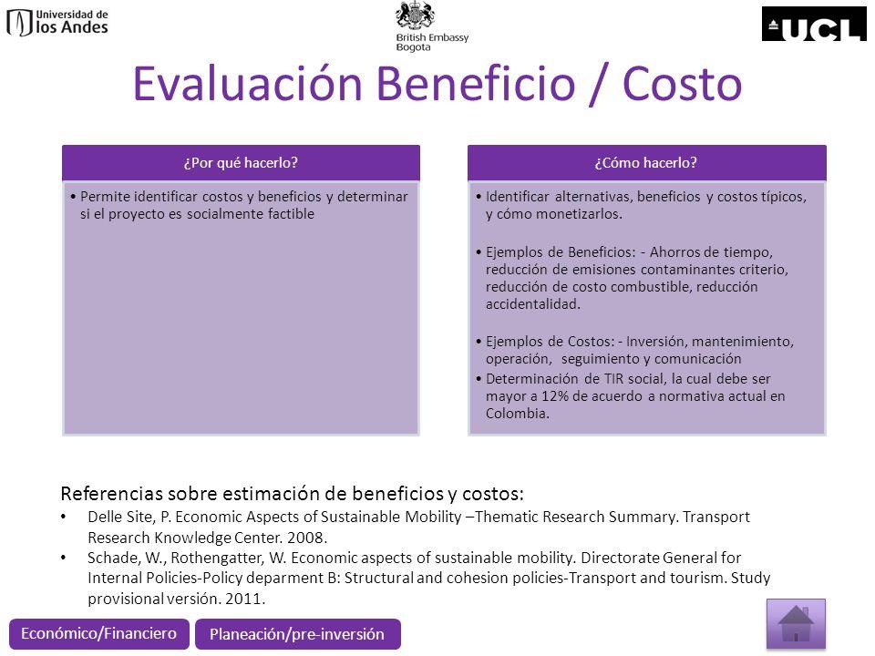 Evaluación Beneficio / Costo ¿Por qué hacerlo? Permite identificar costos y beneficios y determinar si el proyecto es socialmente factible ¿Cómo hacer