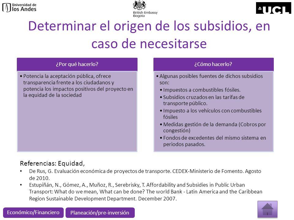 Determinar el origen de los subsidios, en caso de necesitarse ¿Por qué hacerlo? Potencia la aceptación pública, ofrece transparencia frente a los ciud