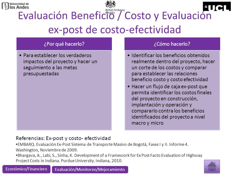 Evaluación Beneficio / Costo y Evaluación ex-post de costo-efectividad ¿Por qué hacerlo? Para establecer los verdaderos impactos del proyecto y hacer